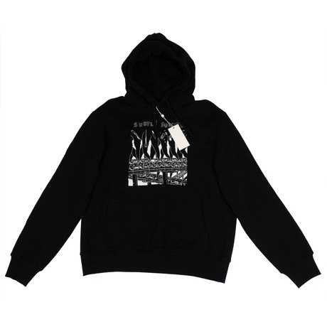 424 // Cotton Pullover Hoodie Sweatshirt // Black (XS)