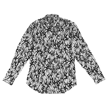 Christian Dior // Cotton Tribal Dress Shirt // White + Black (US: 15R)