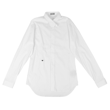 Christian Dior // Crossover Collar Cotton Dress Shirt // White (US: 15R)