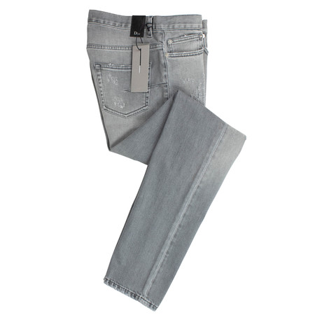 Dior // Faded Cotton Blend Distressed Jeans // Gray (28)