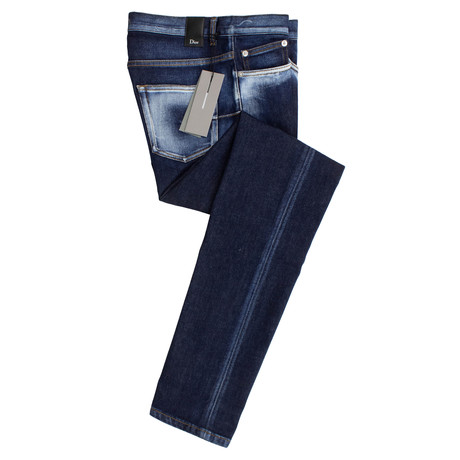 Dior // Bleached Cotton Blend Jeans // Blue (28)