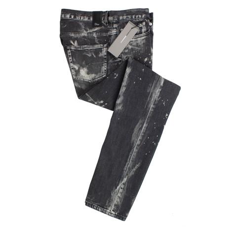Dior // Splatter Cotton Blend Jeans // Gray (28)