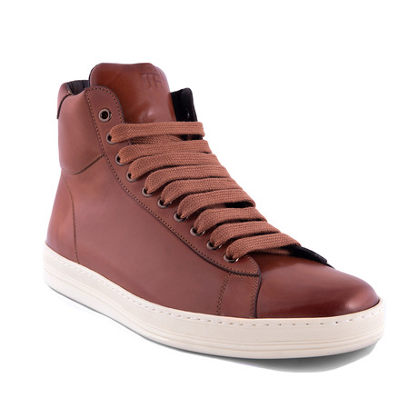 Men's Leather High Top Sneakers // Brown (US: 7)
