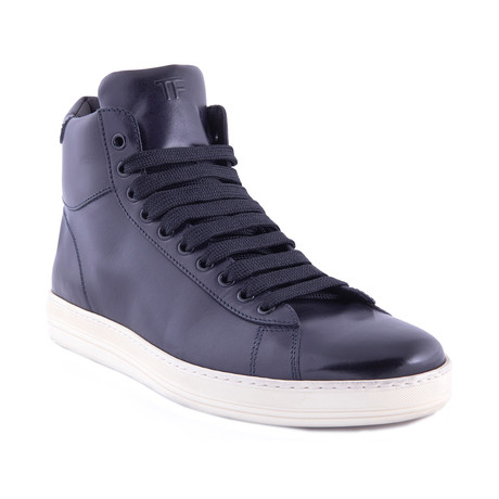 Men's Leather High Top Sneakers // Indigo Blue (US: 7)