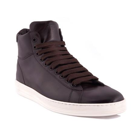 Men's Leather High Top Sneakers // Dark Brown (US: 7)