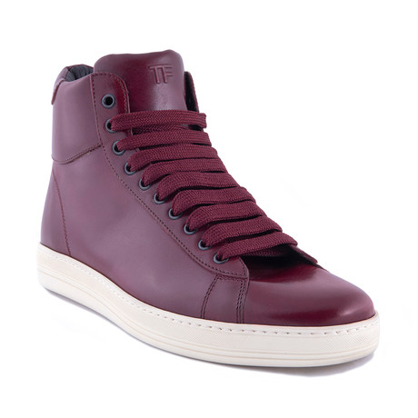 Men's Leather High Top Sneakers // Burgundy (US: 7)