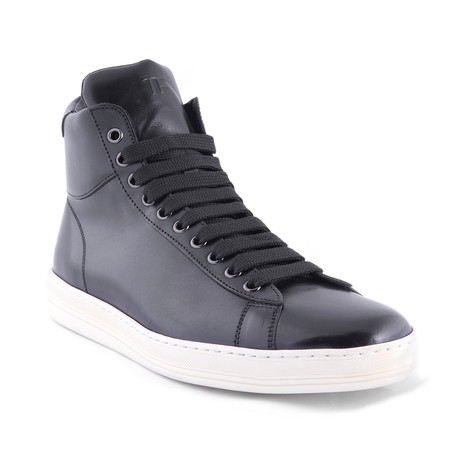 Men's Leather High Top Sneakers // Black (US: 7)