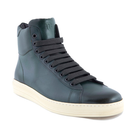 Men's Leather High Top Sneakers // Green (US: 7)