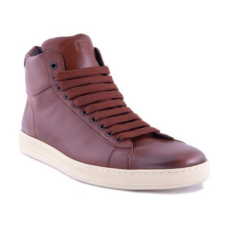 Men's Leather High Top Sneakers // Teak Brown (US: 7)