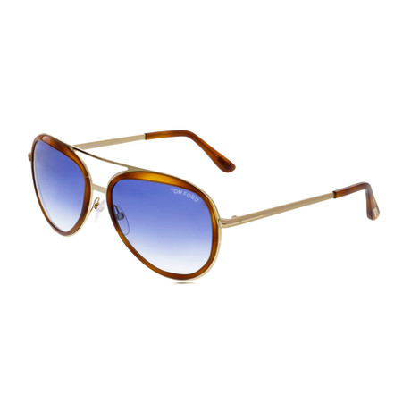 Men's Andy Sunglasses // Havana + Blue Gradient