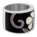 Nouvelle Bague Petali 18k White Gold Multi-Stone Black Enamel Ring // Ring Size: 7