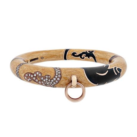 Nouvelle Bague Kenya 18k Rose Gold Diamond + Goldenrod Black Enamel Bangle Bracelet
