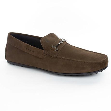 Suede Embellished Loafer // Brown (UK: 6)