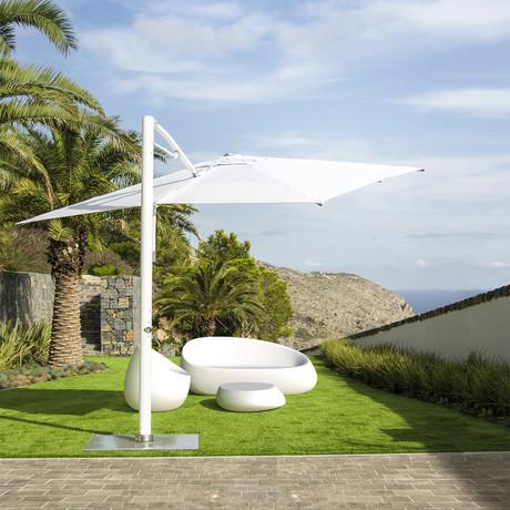 10' Square White Cantilever Tilt Umbrella + Base (White Base + Frame)