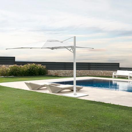 10' x 14' White Cantilever Umbrella + Base (White Base + Frame)