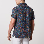 Griffin Casual Camp-Collared Short Sleeve Button Down // Teal (L)