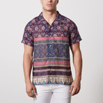 Hines Casual Camp-Collared Short Sleeve Button Down // Navy (L)
