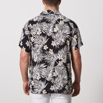 Charles Casual Camp-Collared Short Sleeve Button Down // Black + White (L)