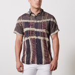 David Casual Point-Collared Short Sleeve Button Down // Gray (S)