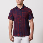 Mercado Casual Point-Collared Short Sleeve Button Down // Prussian Blue (S)