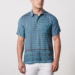 Deleon Casual Point-Collared Short Sleeve Button Down // Teal (S)