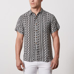 Liu Casual Point-Collared Short Sleeve Button Down // Black + White (S)