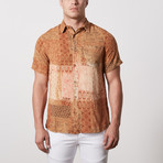 Hampton Casual Point-Collared Short Sleeve Button Down // Brown (S)