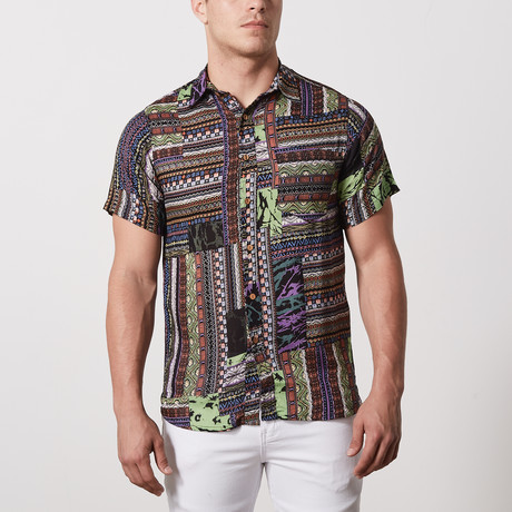 Sandoval Casual Point-Collared Short Sleeve Button Down // Multicolor (L)