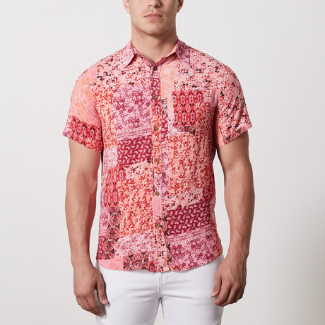Potts Casual Point-Collared Short Sleeve Button Down // Poppy Red (L)