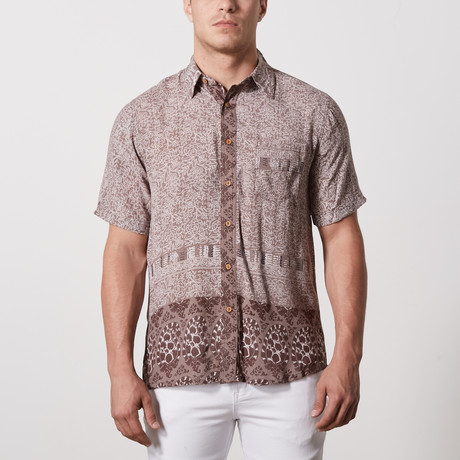 Bryant Casual Point-Collared Short Sleeve Button Down // Brown (XL)