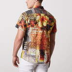 Ortiz Casual Point-Collared Short Sleeve Button Down // Multicolor (L)
