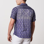 Fritz Casual Point-Collared Short Sleeve Button Down // Purple (S)