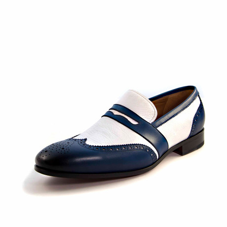 Ray Wingtip Loafer // Navy + White (US: 7)