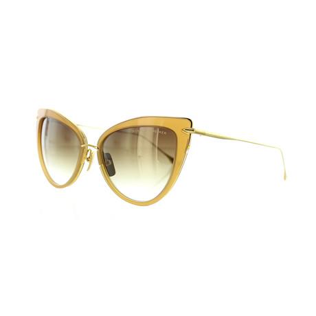 Women's Cat-Eye Sunglasses // Light Brown + 18K Gold