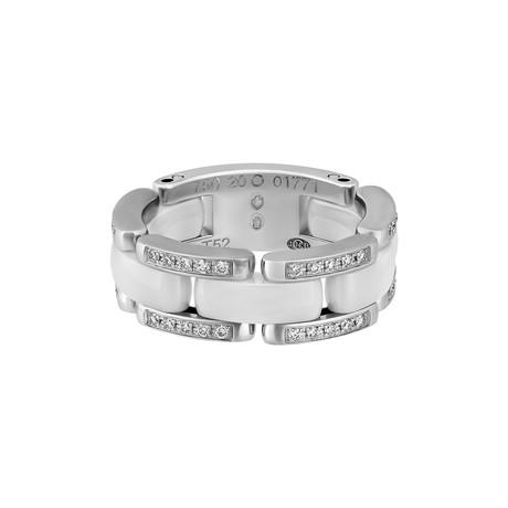 Vintage Chanel 18k White Gold Ceramic Diamond Ring // Ring Size: 6.25