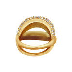 Vintage Mauboussin 18k Yellow Gold Diamond Double Row Ring // Ring Size: 5.25