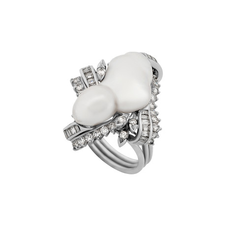 Estate 18k White Gold Baroque Pearl + Diamond Ring // Ring Size: 6.5