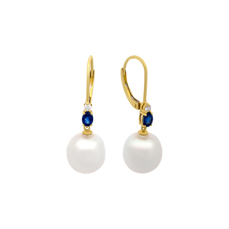 Aquarian Pearls 18k Yellow Gold White Pearl + Diamond Drop Earrings // Pre-Owned