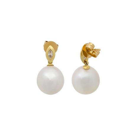 Vintage Aquarian Pearls 18k Yellow Gold Diamond + Pearl Earrings