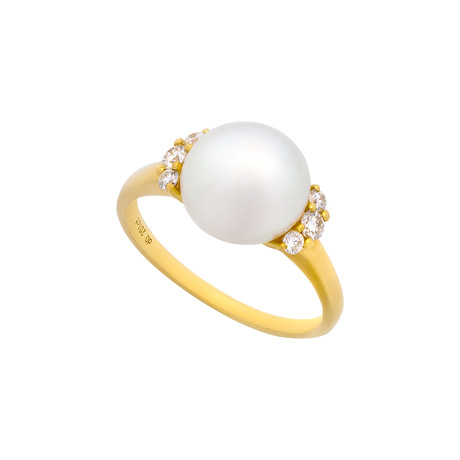 Vintage Aquarian Pearls 14k Yellow Gold Pearl + Diamond Ring // Ring Size: 7.25