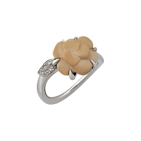 Vintage Chanel 18k White Gold Diamond Ring // Ring Size 5.25