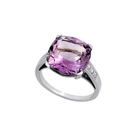 Vintage Mauboussin 18k White Gold Diamond + Amethyst Ring // Ring Size: 8