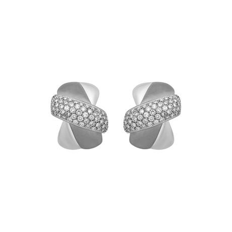 Vintage Arzani Salvatore 18k White Gold Diamond Earrings