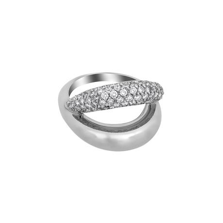 Vintage Mauboussin 18k White Gold Diamond Double Row Ring // Ring Size: 5.5
