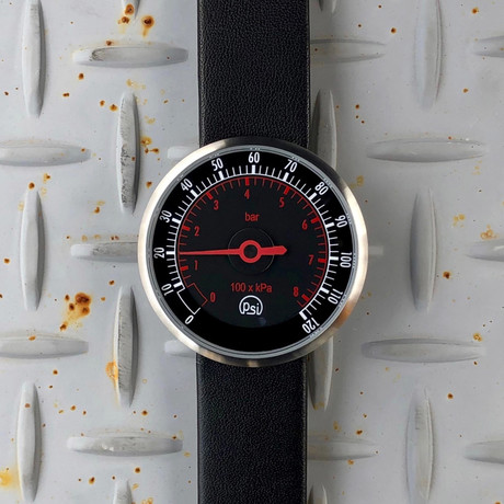 Tokyo Flash PSI // Silver (Leather Strap + Black Dial)