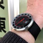 Tokyo Flash PSI // Silver (Leather Strap + Black Dial)