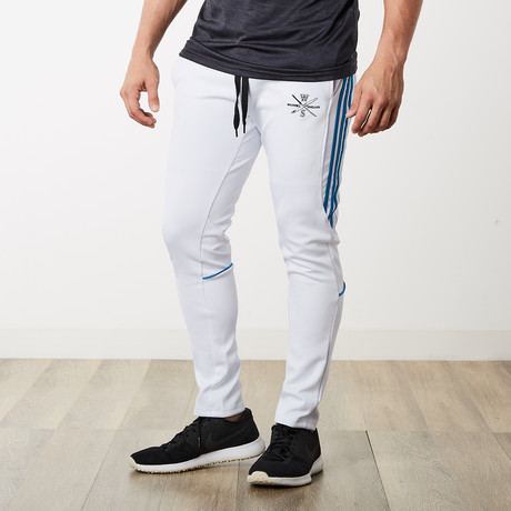 The One + Only Track Joggers // White + Blue (S)