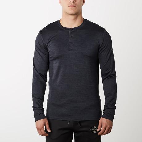 Mako Long-Sleeve Fitness Tech Henley // Black (S)