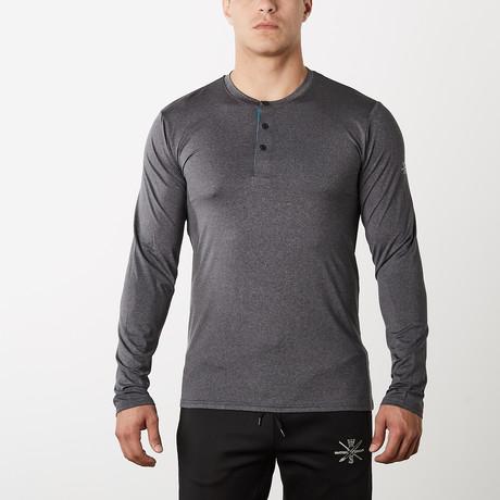 Mako Long-Sleeve Fitness Tech Henley // Charcoal (S)