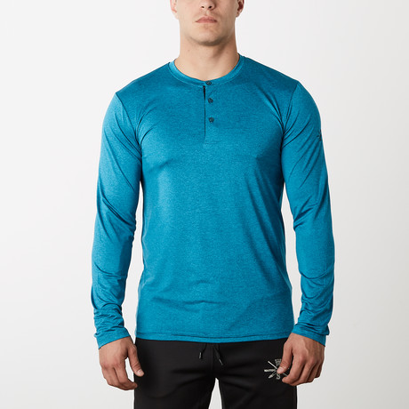 Mako Long-Sleeve Fitness Tech Henley // Ocean Blue (S)